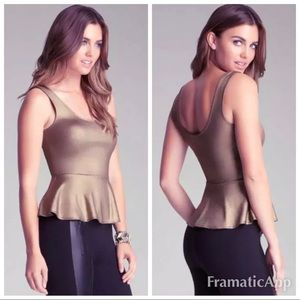 New Bebe gold peplum top. Clubwear sz s (eb)